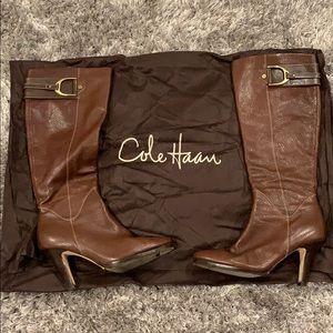 Cole Haan Tall Brown Heel Boots, Sz 8